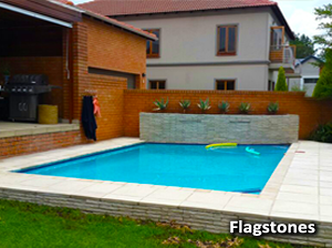 flagstones around a swimming pool
